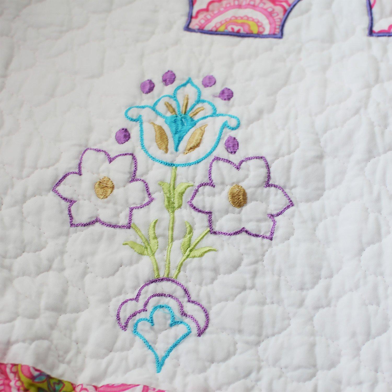 Brandream 3-Piece Pink Elephant Quilt Set Girls Kids Bedding Set Queen Size
