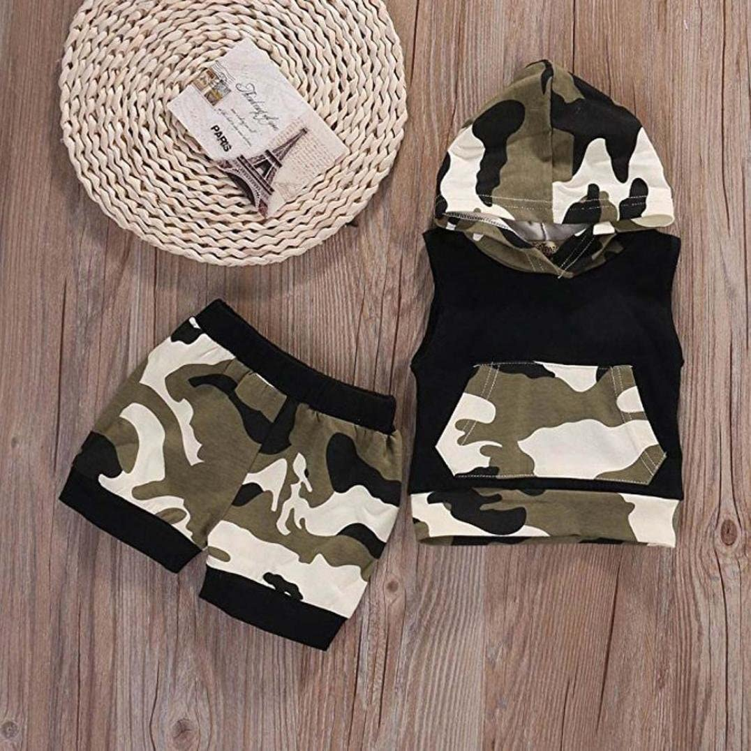 WARMSHOP Summer Clothes for 0-24 Months Boys Sleeveless Hooded Camouflage Pocket T-Shirt and Shorts Set Playwear