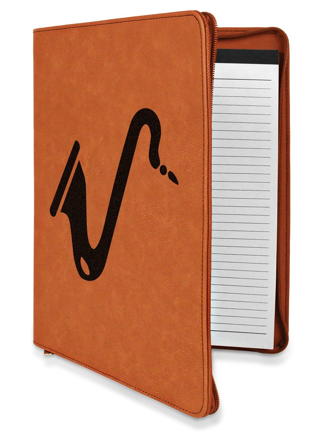 Musical Instruments Leatherette Zipper Portfolio with Notepad - Single Sided (Personalized)