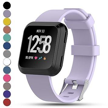 Feskio - Correa de Repuesto para Fitbit Versa, Ajustable, de Silicona Suave, para Fitbit Versa Smartwatch, tamaño Grande/pequeño, 12 Colores