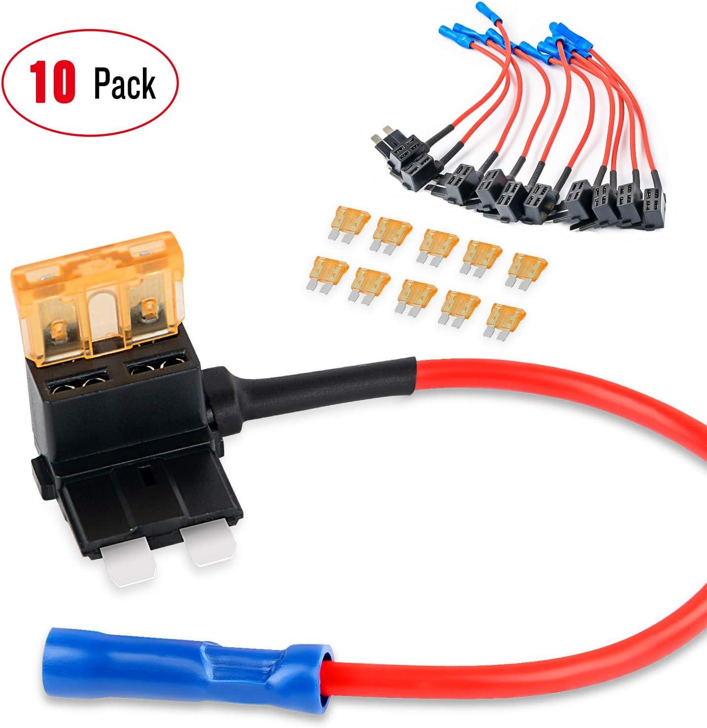 fuse box adapter amazon com nilight 50039r 10pack holder 10 pack 12v add a circuit  nilight 50039r 10pack holder