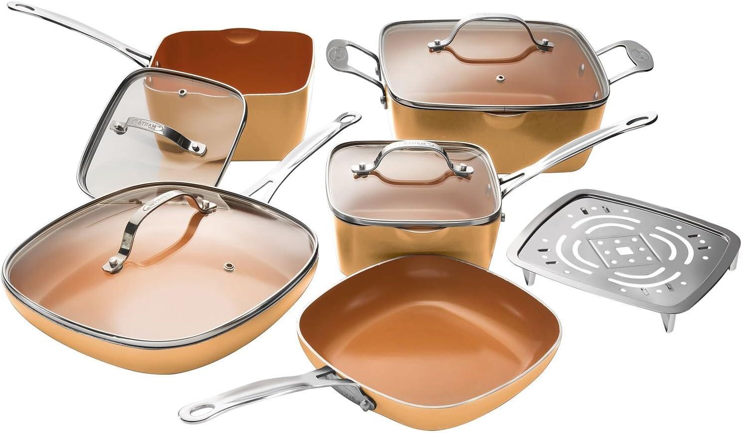 Gotham Steel Nonstick 10 Piece Square Cookware Set, Large, Copper