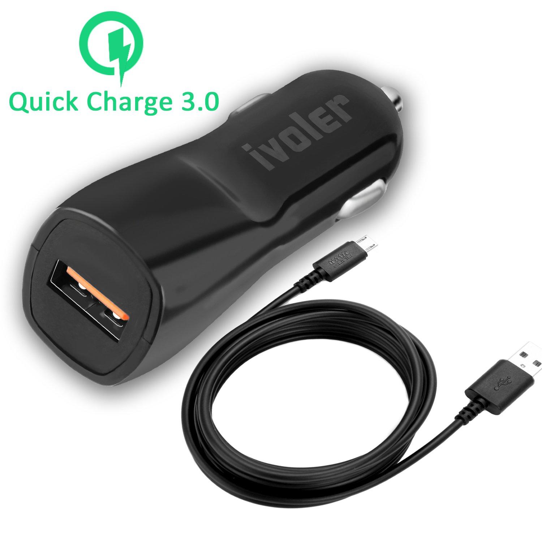 [Qualcomm Certificado] iVoler - Qualcomm Quick Charge 2.0 Cargador auto y coche 18W USB con tecnología Qsmart con cable micro USB 2m negro, compatible ...
