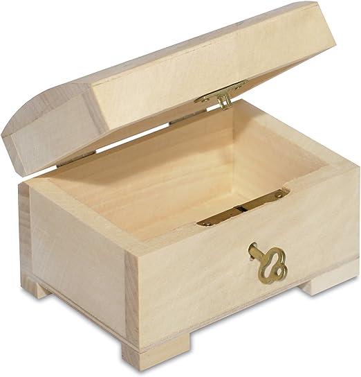 Creative Deco Pequeña Caja de Madera con Llave | 10,6 x 7,5 x 7,5 ...