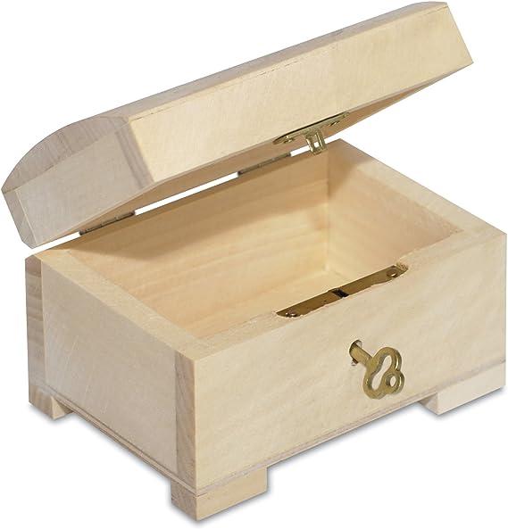 Creative Deco Pequeña Caja de Madera con Llave | 10,6 x 7,5 x 7,5 cm | con Cerradura y Tapa Redondeada | Sin Pintar | Cofre para Decorar Almacenar Joyería y Objetos de Valor: Amazon.es: Hogar