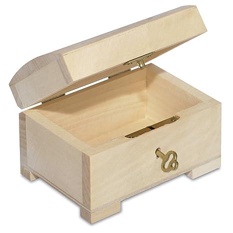 Creative Deco Pequeño Caja con Llave Madera | 10,6 x 7,5 x 7,5 cm | con Cerradura y Curva Tapa Decorar, Joyería y Objetos de Valor