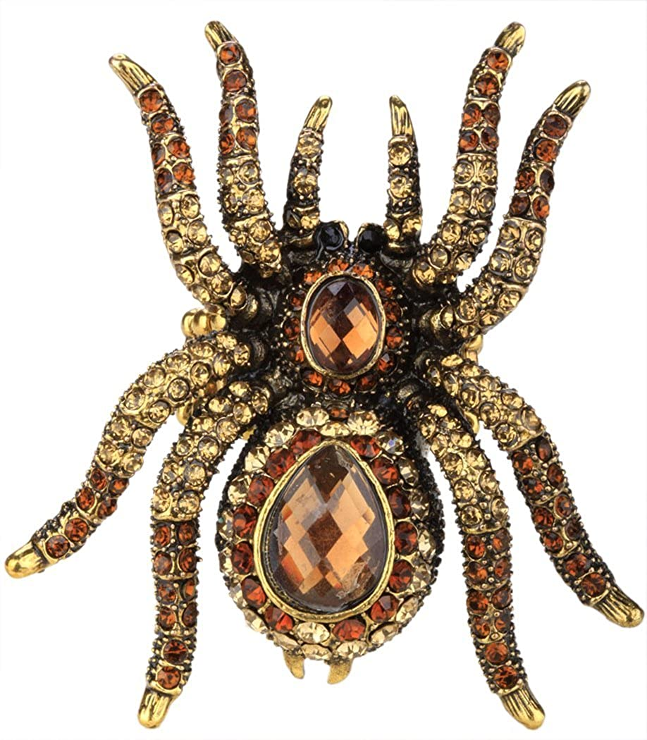 YACQ Jewelry Women's Crystal Spider Pin Brooch Pendant Halloween Party Gifts for Women Teen Girls BA12-B7