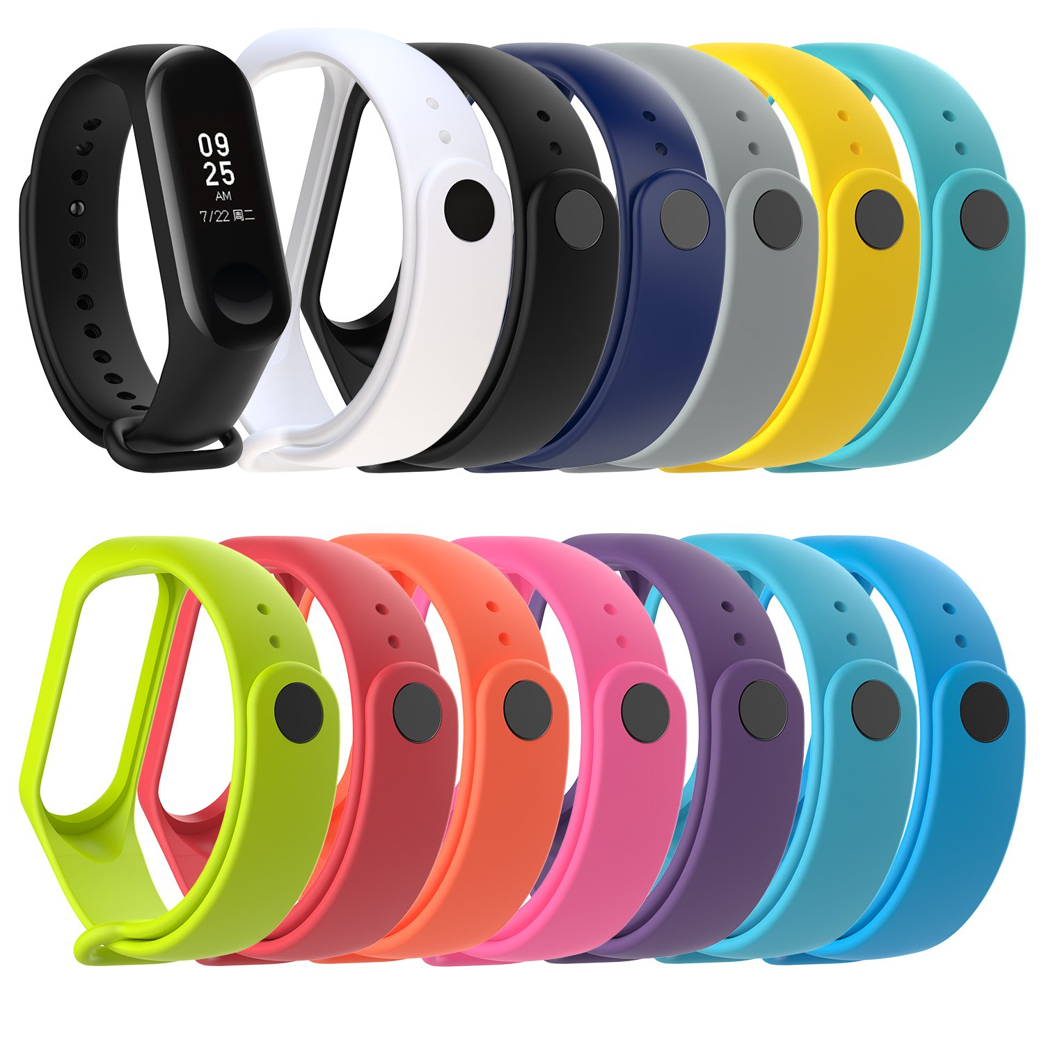 TOMALL Xiaomi Mi Band 3 Adjustable Replacement Silicone Wristband Strap Waterproof Strap