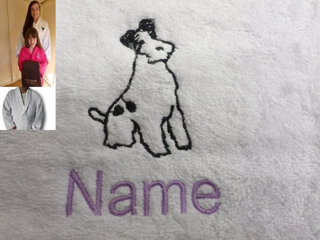 Adult Bath Robe with a SCHNAUZER Logo and Name of your choice in White, Size Medium, Large, XLarge or XXLarge (Medium)