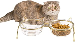 Qucey Cat Food and Water Bowls Set, Raised Cat Bowls for Food and Water, Elevated Pet Glass Bowls with Stand, 17 oz Cats and Dogs Bowl, Anti Vomiting, Dishwasher Safe