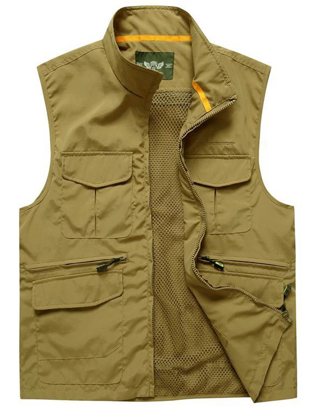 Flygo Men's Leisure Mutiple Pockets Outdoors Vest Sleeveless Jacket (Small, Khaki) by Flygo