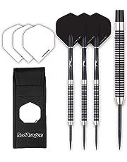 Pegasus Tungsten Steel Darts Set - Black Red Dragon Shafts, Black Winmau Flights, Wallet & Red Dragon Checkout Card