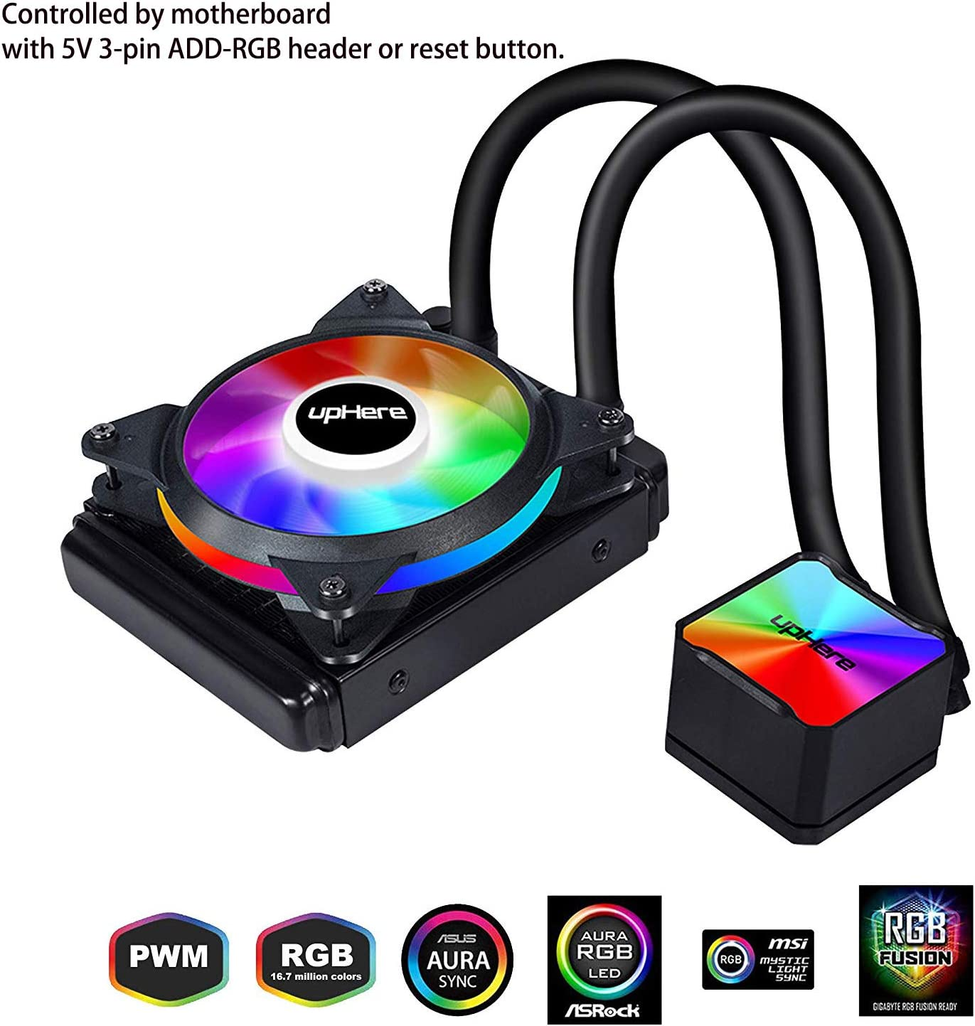 upHere Liquid CPU Cooler 120mm,SYNC RGB Fan,120mm PWM Fan,Motherboard Control Supported,Intel and AM4 Compatible,CC120RGB