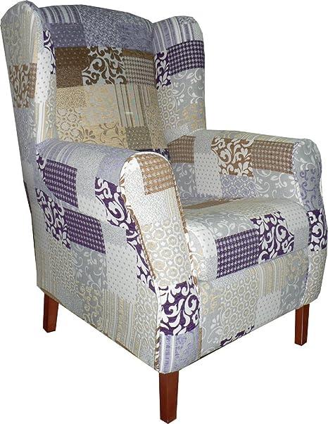FACTORY MUEBLES - Butaca tapizada Fantasía. Tejido Gran calidad. Color Violeta. Disponible en varios colores