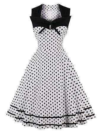 La Vogue Women 50s Vintage Dress Polka Dot Rockabilly Swing Prom Dress Size US6