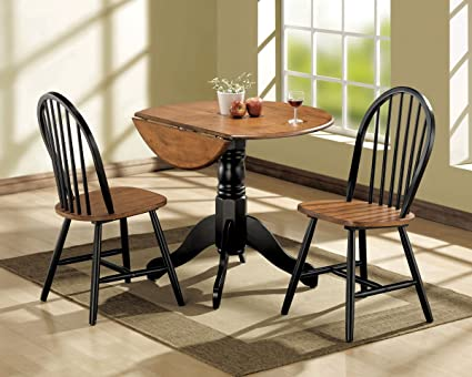 3 piece kitchen set small acme 00878 3piece mason dining set cherry and black finish amazoncom