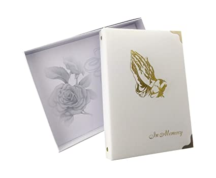 """in Memory Funeral Guest Book, Visitor Registration, Memorial & Condolence  Book, Ivory, """"Praying Hands"""" 7 25x10 Inches, Brass Ring Binder (45)"""