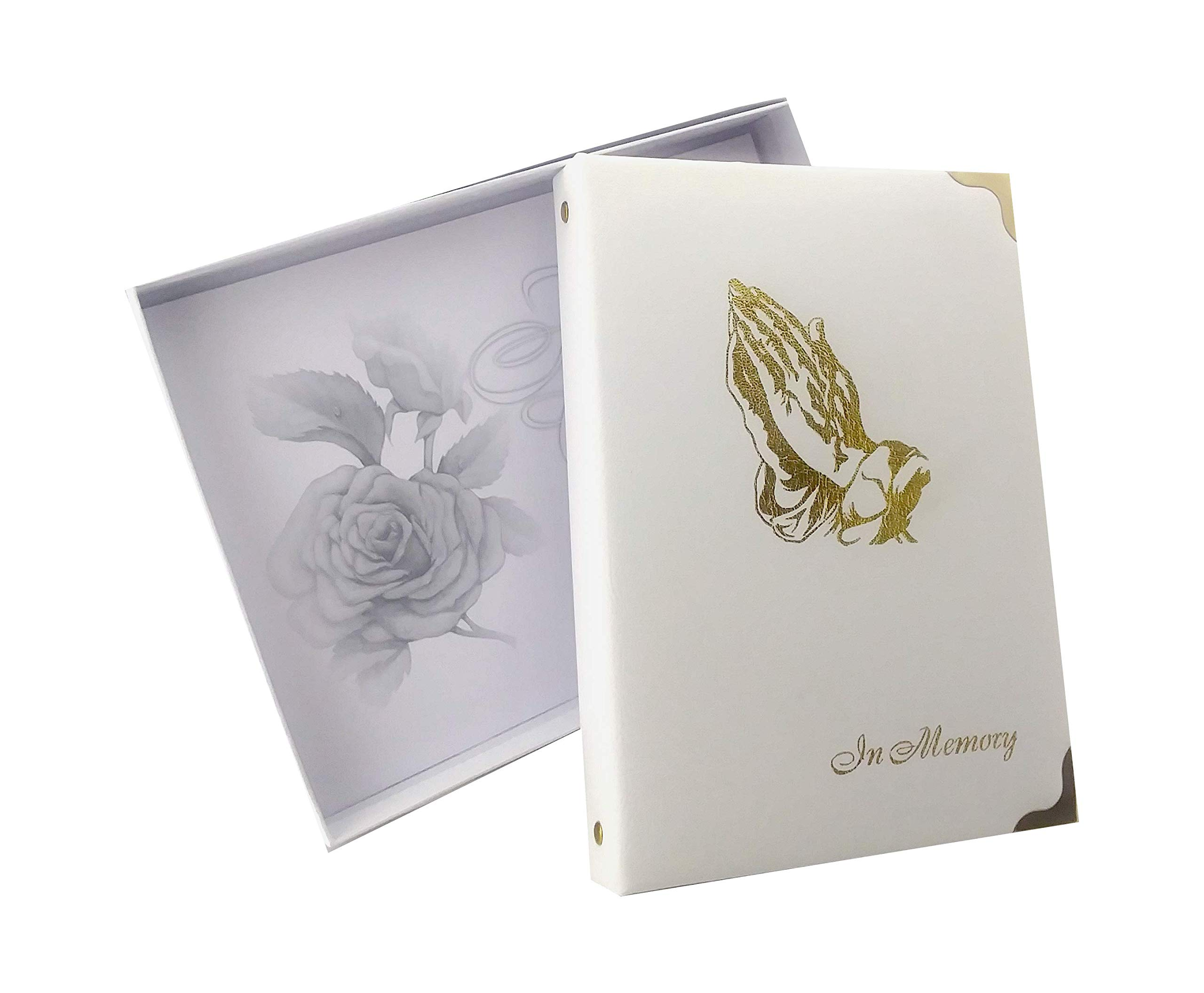 in Memory Funeral Guest Book, Visitor Registration, Memorial & Condolence Book, Ivory, ''Praying Hands'' 7.25x10 Inches, Brass Ring Binder (45) Removable Pages