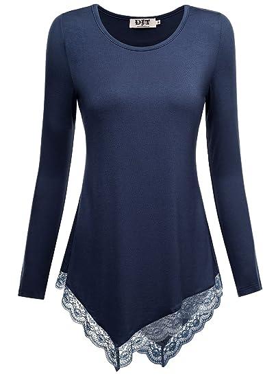 DJT - Maglietta Collo Rotondo Bordo in Pizzo a Manica Lunga - Donna Blu  X-Large  Amazon.it  Abbigliamento 807de878f8b