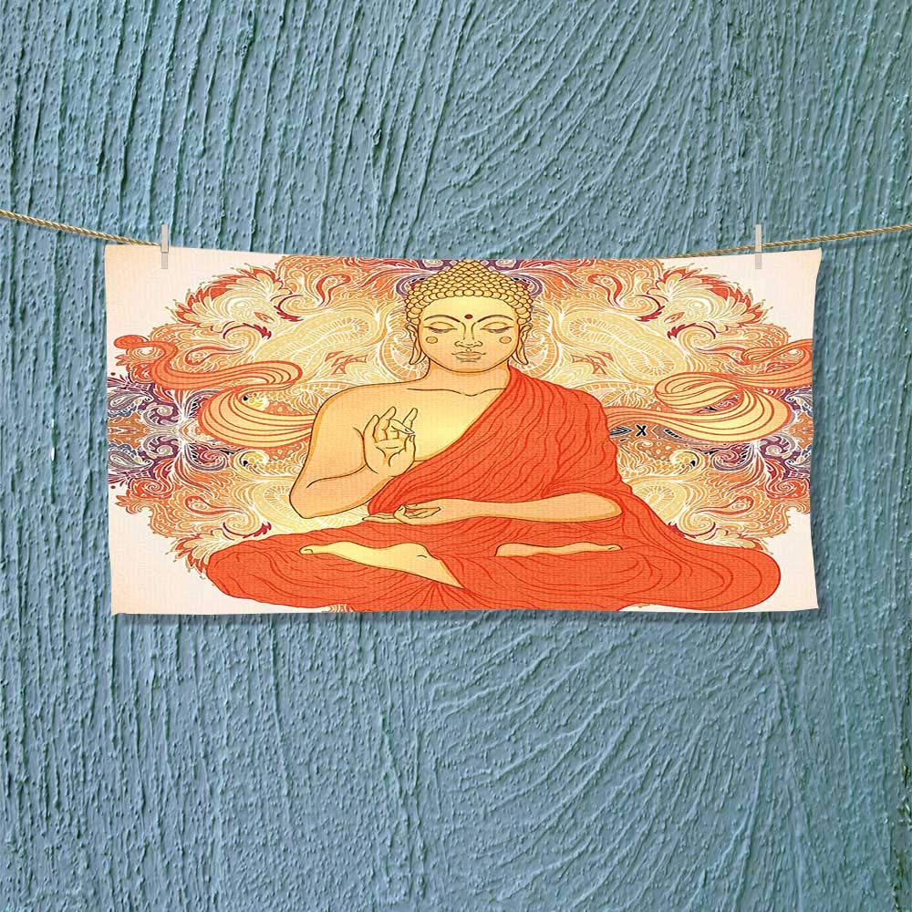 Nalahome Microfiber Towel Decor Meditation Aura Thai Temple Ornamental Motive Spiritual Design Print Accessories Orange High Absorbency L27.5 x W11.8 inch