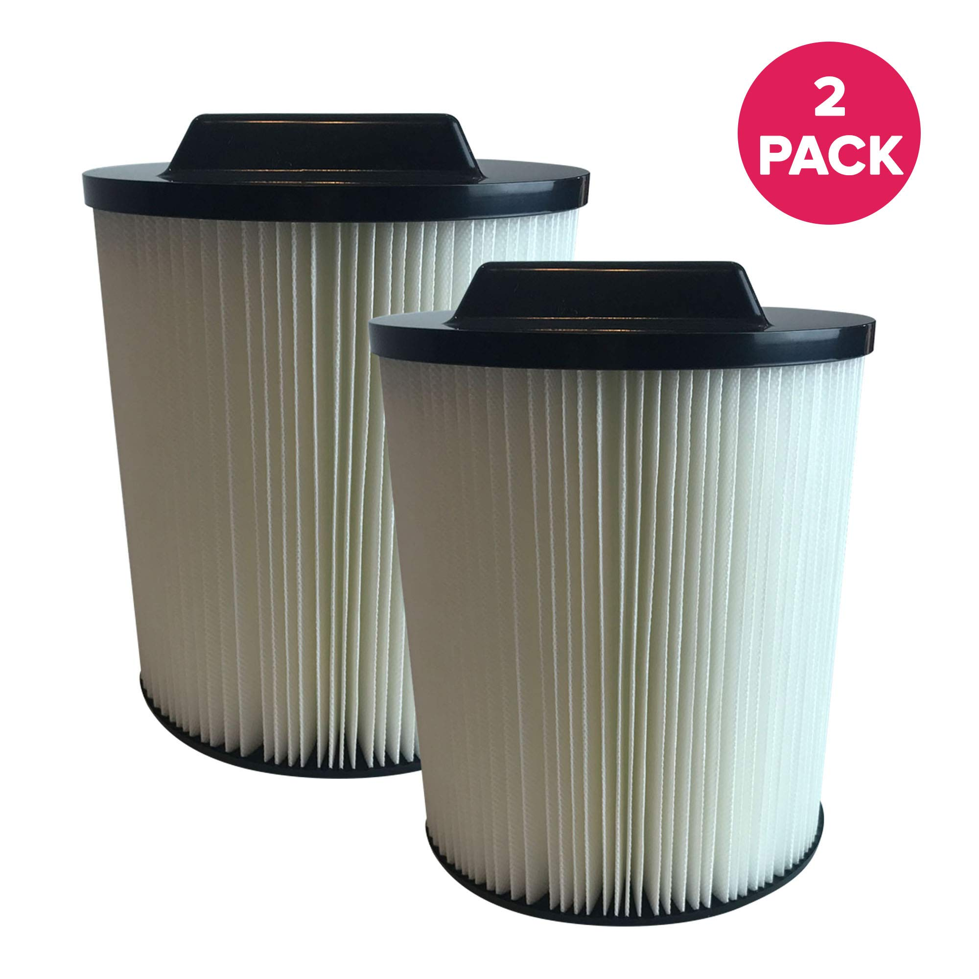 Crucial Vacuum Replacement Vacuum Filter - Compatible with Rigid Vacs Part 00917816000 17816 00917912000 17912 9-17816 VF4000 - Fits Models 6 to 20 Gallon Wet, Dry Vacuums - Bulk (2 Pack)