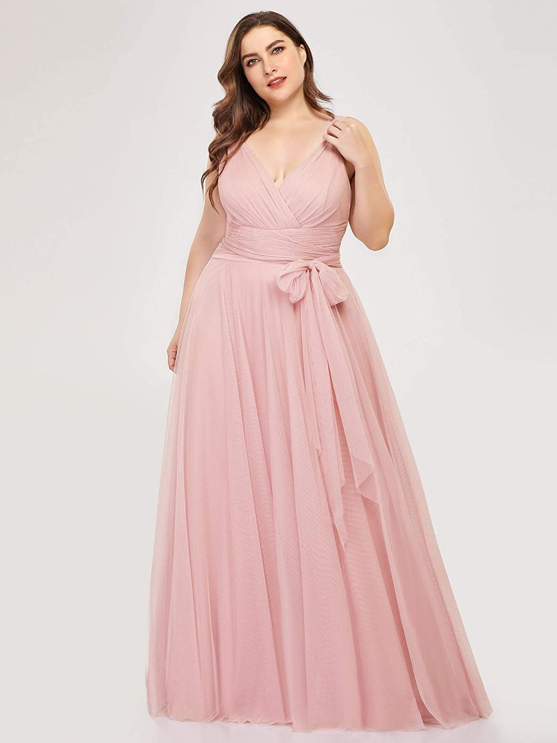 Ever-Pretty Women\'s Plus Size V-Neck Wrap Empire Waist Tulle Bridesmaid  Dress 7303PZ