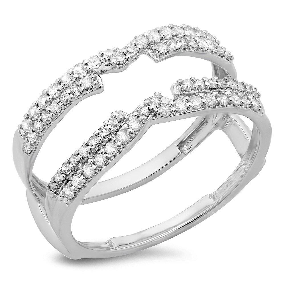 0.50 Carat (ctw) 14K White Gold Round Diamond Ladies Wedding Swirl Double Guard Ring 1/2 CT (Size 6)