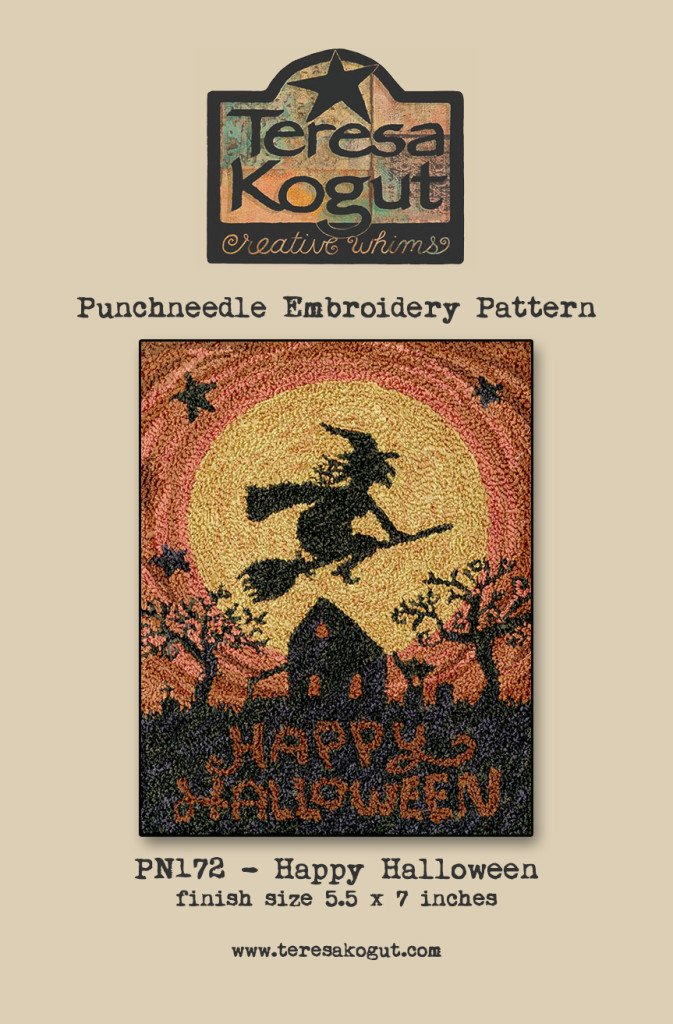 Happy Halloween Witch Punchneedle Punch Needle Embroidery Teresa Kogut Pattern PN172 Autumn Fall