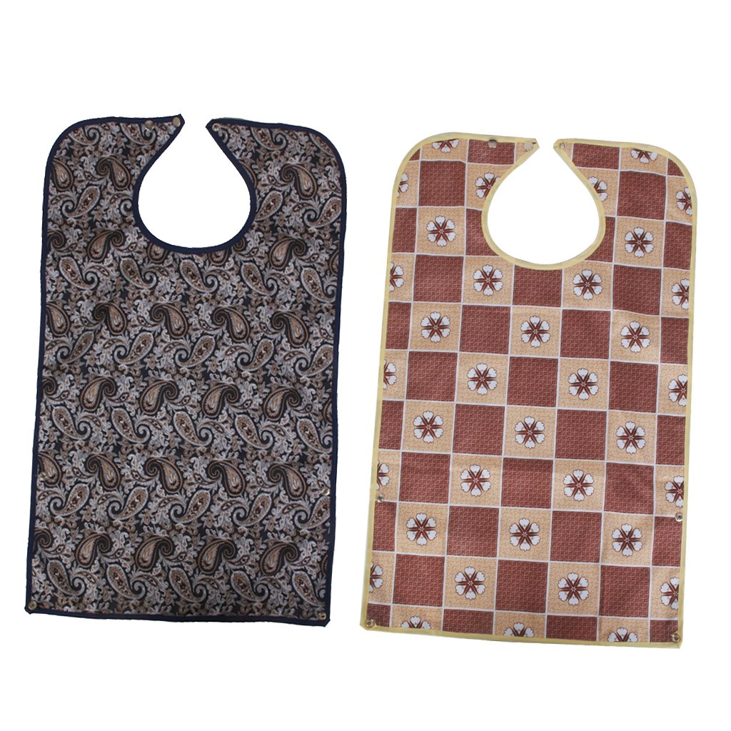 D DOLITY 2PCS Waterproof Adult Bib Disability Eating Drinking Aid Mealtime Clothes Protector - B