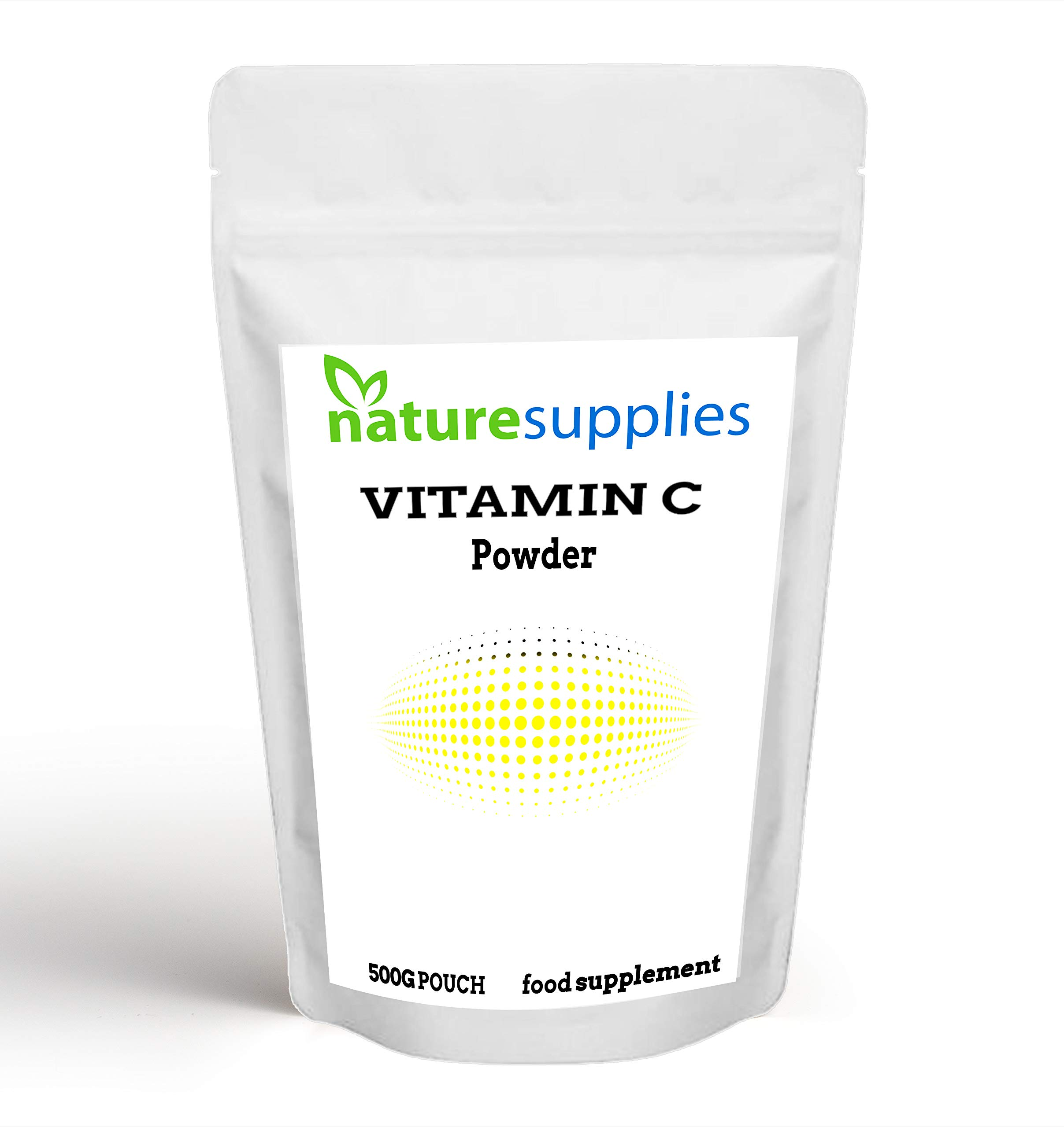 Vitamin C Powder 500g Ascorbic Acid UK Non GMO - Pharmaceutical Grade, Highly Concentrated No Chemicals in Our Supplements - Suitable for Vegans - Naturesupplies