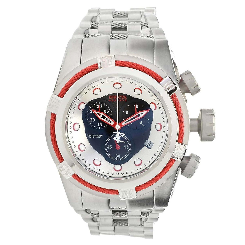 Invicta 22159メンズボルトZeus Reserveクロノグラフシルバー&ブラックダイヤルスチールブレスレットDive Watch B01MYP6ONK