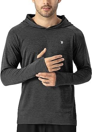 TBMPOY Men's UPF 50+ Sun Protection Hoodie Long Sleeve Thumbholes Shirt SPF/UV Lightweight Fishing Workout Shirt