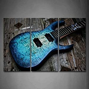 Guitar in Blue Looks Magical Lies On Wooden Wall Art Painting The Picture Print On Canvas Music Pictures for Home Decor Decoration Gift