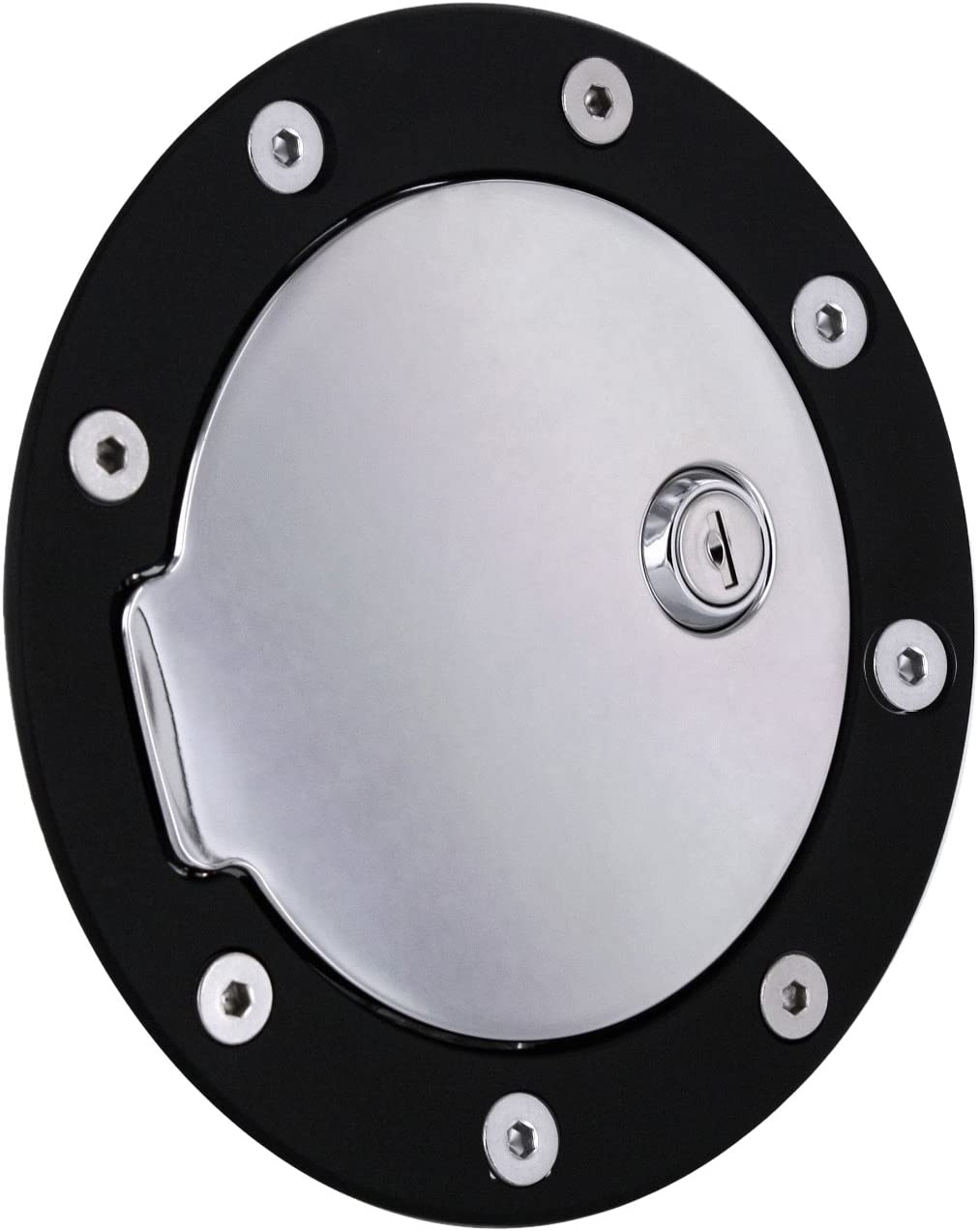 All Sales 6050KL Black Billet Aluminum Ring and Locking Fuel Door