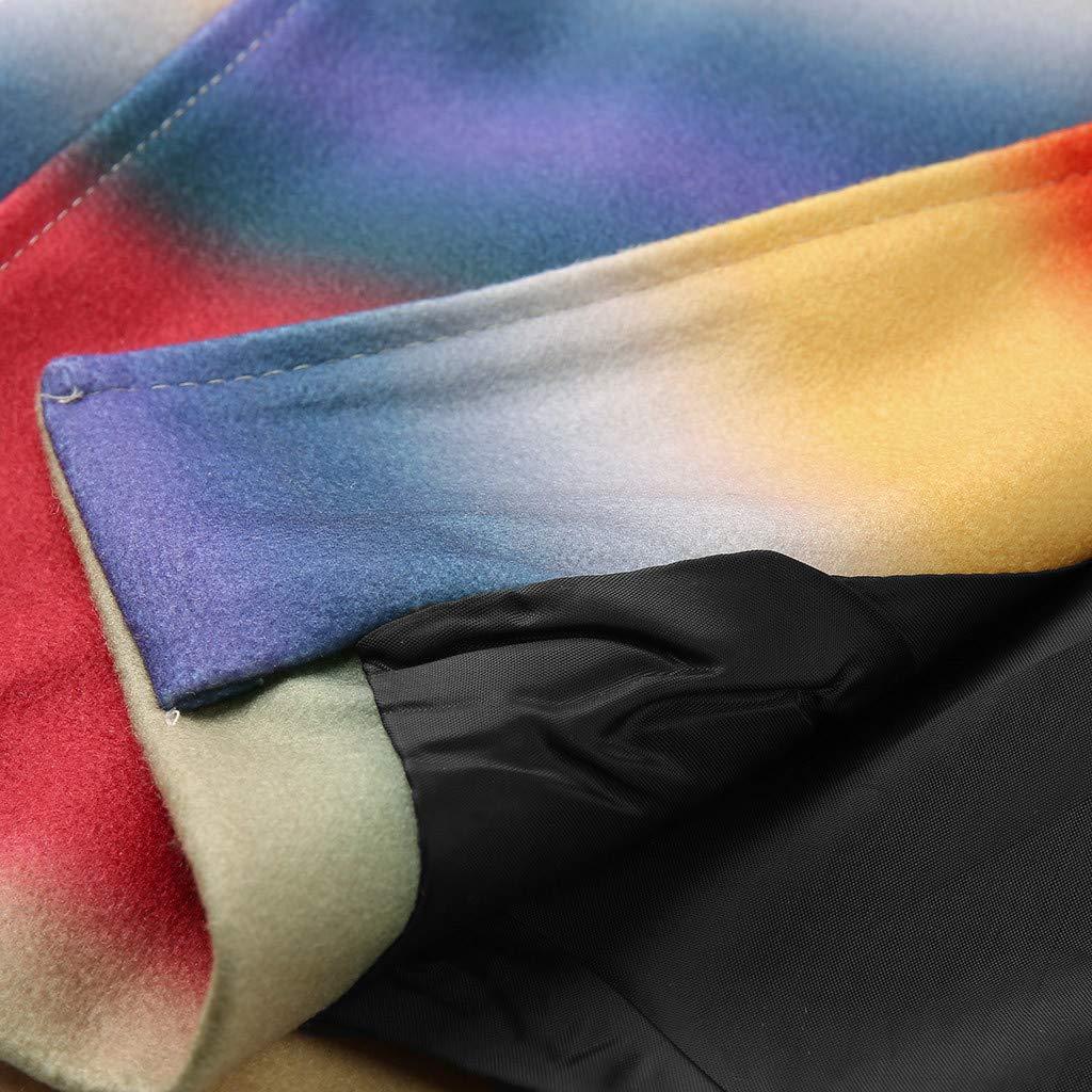 Capispalla Cashmere Colore Arcobaleno Vintage VJGOAL Offerta Uomo Cappotto di Lana Lungo Invernali Etnico Retro Cardigan Wool Coat Eleganti