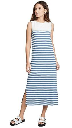 7962a39d0d82e Current/Elliott Women's The Perfect Muscle Tee Dress, Blue Stripe with  Bleach, ...