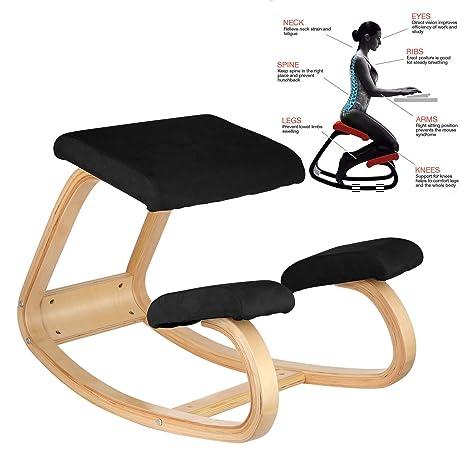 Amazon.com: VEVOR ergonómico silla de rodillas, madera de ...