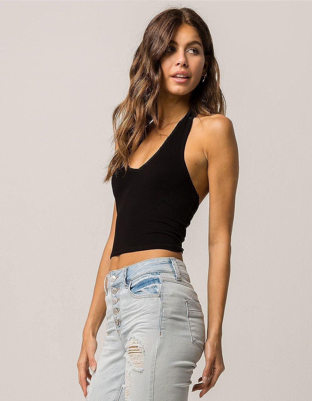e5867eb397 Bozzolo Crop White Halter Top at Amazon Women s Clothing store