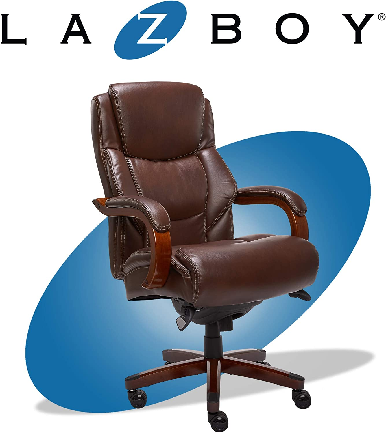 La Z Boy Delano Big & Tall Executive Office Chair | High Back Ergonomic Lumbar Support, Bonded Leather, Brown | 45833 model
