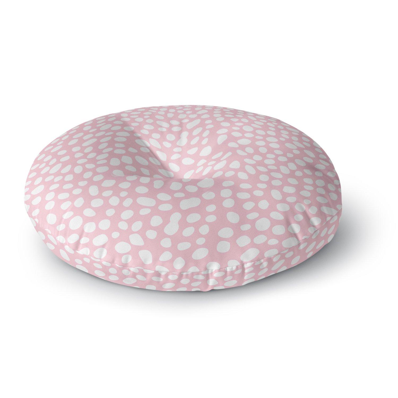 KESS InHouse Wildlife Pink Animal Print 4'' White Digital Round Floor Pillow, 26''