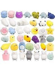 Grobro7 Random 40 Pcs Cute Animal Mochi Squishy, Kawaii Mini Soft Squeeze Toy,Fidget Hand Toy for Kids Gift,Stress Relief,Decoration