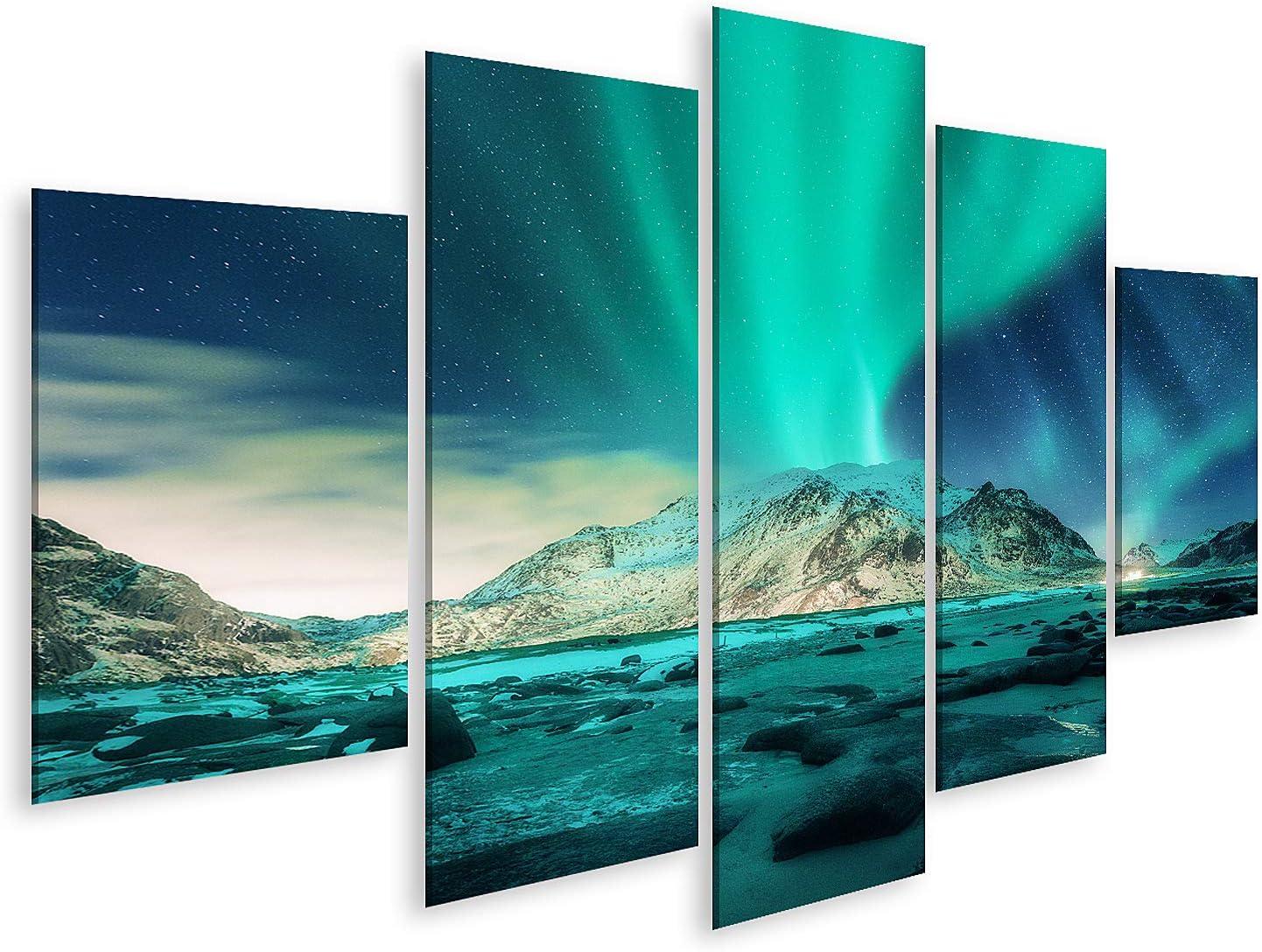 Cuadro en Lienzo Aurora Boreal sobre montañas Cubiertas de Nieve, Playa de Arena con Piedras Luces del Norte en Las Islas Lofoten Noruega Estrellada Cuadros Modernos Decoracion Impresión Salon