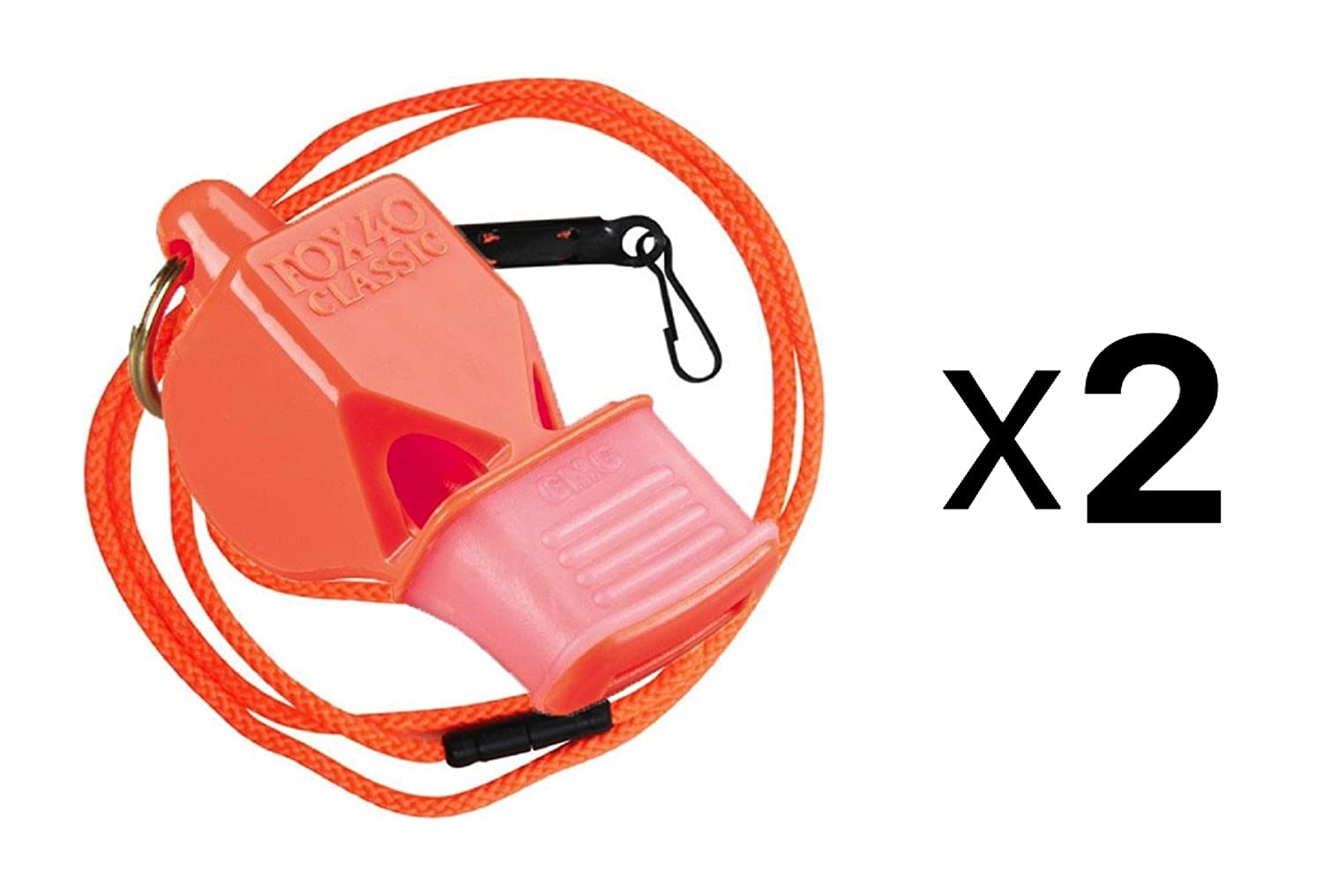 Fox 40 Classic CMG Whistle & Lanyard Referee Safety Alert, Orange (2-Pack) LEPUSHPDJ6443