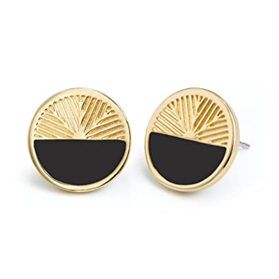 090a7e62e17a75 Image Unavailable. Image not available for. Color: Personalized Color Enamel  Disc Stud Earrings - Black ...