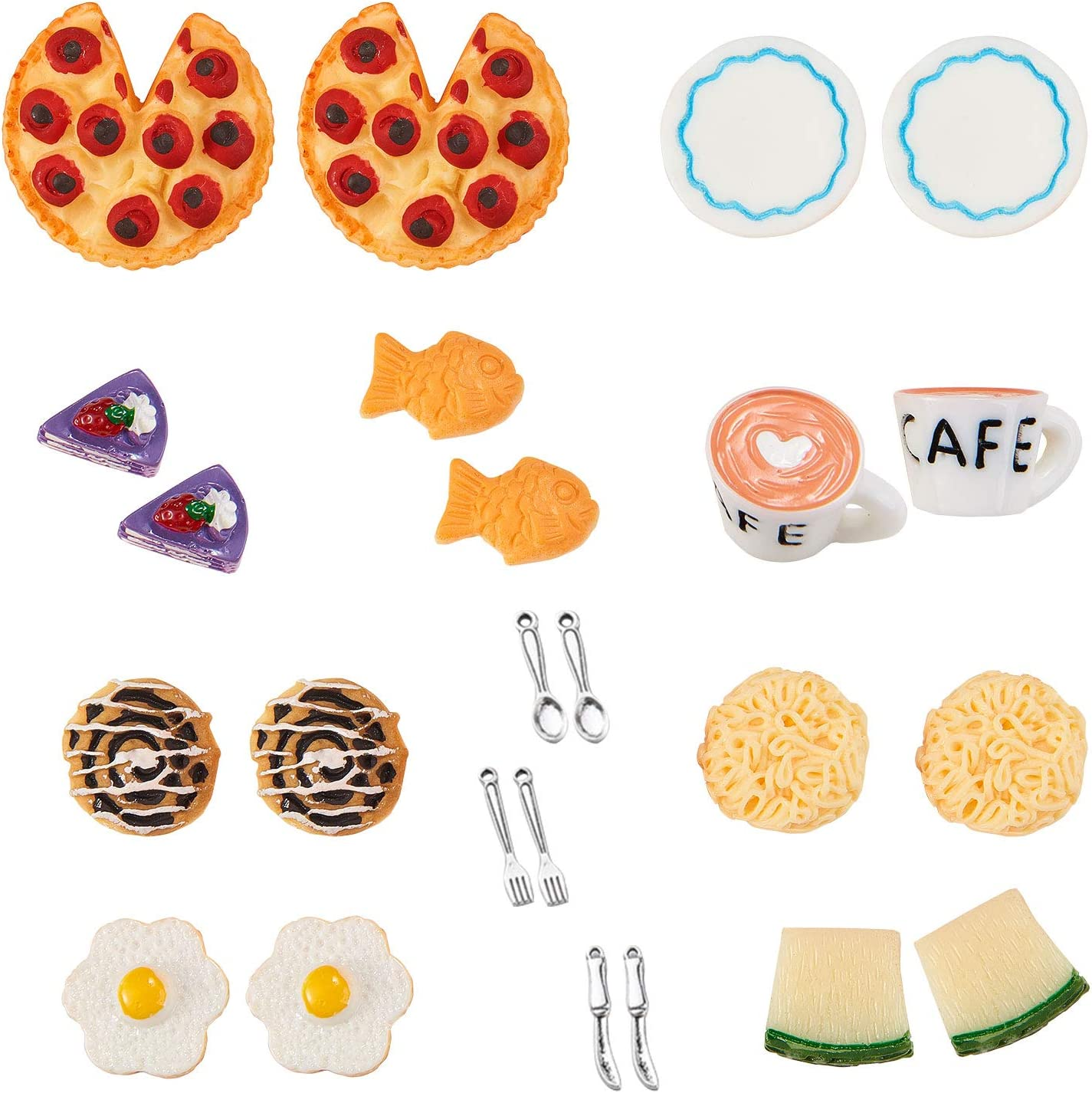 Airssory 24 Pcs Pizza Noodle Breakfast Lunch Afternoon Tea Tableware Food Simulation Drinks Toys Model Resin Cabochons Slime Charms Decoden for DIY Craft Scrapbooking