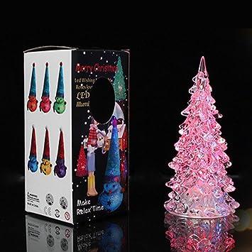 7 pcs acrylic led crystal christmas tree led night light seven color light source lamp
