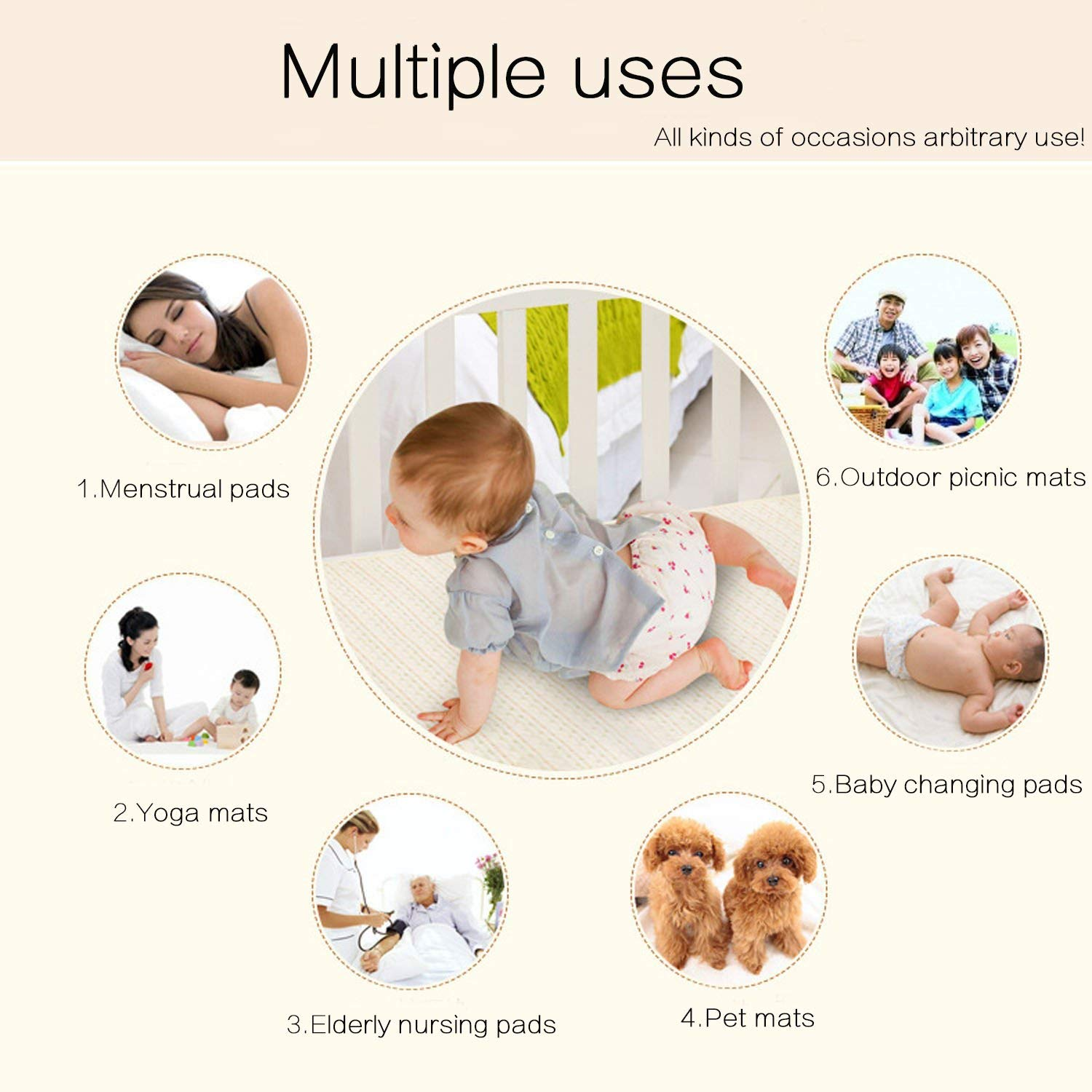 M 27.5x19.7inch Mattress Pads Diapering Sheet Protector Menstrual Pads Pack of 3 Baby Kid Waterproof Changing Pad