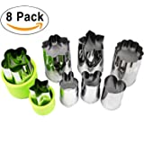 ONUPGO Vegetable Cutters Shapes Set (8 Piece) - Cookie Cutters Fruit Mold Cheese Presses Stamps for Kids Shaped Treats Food Making Cute Cutouts for Customizing