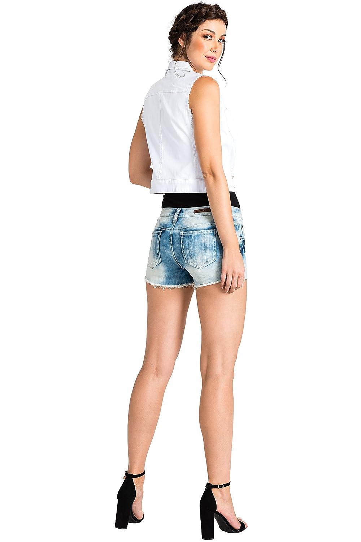 Standards /& Practices Modern Womens Blue Frayed Edge Extreme Wash Denim Shorts