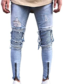 2e4c8563a4b9 LOSIBUDSA Men s Skinny Slim Fit Straight Ripped Destroyed Distressed Zipper  Stretch Knee Patch Denim Pants Jeans